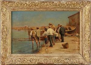 Fiskar På Stranden - Pêcheurs Sur La Plage, étang De Berre by Adolphe APPIAN