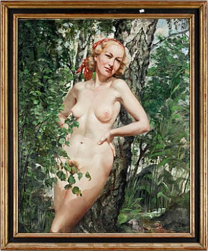 Nakenstudie I Sommarlandskap by Philippe De ROUGEMONT