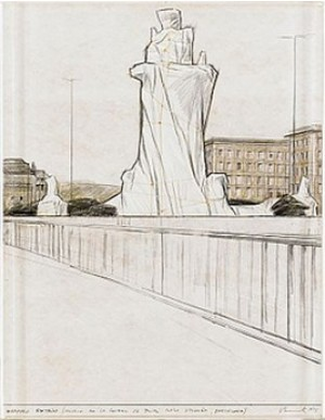 Wrapped Fountain (project For La Fontana Jujol, Plaza D'españa, Barcelona) by Christo JAVACHEFF
