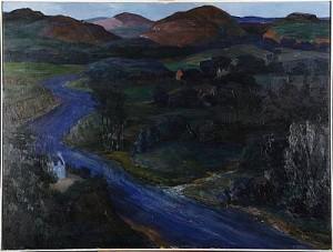 Landskap Med älv by Olle HAGDAHL