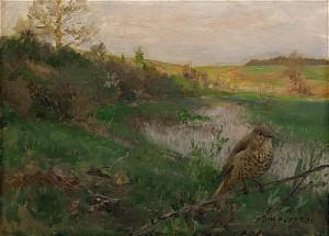 Landskap Med Taltrast Vid Vattendrag by Bruno LILJEFORS
