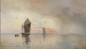 Motiv Av Fartyg I Solnedgång by Herman Af SILLÉN