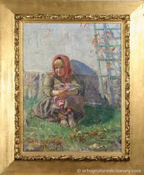 Ung Flicka Vid Husvägg by Wilhelm SMITH