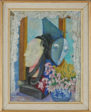 Stilleben Med Masker I Fönster by Marie Ivanovna VASSILIEFF