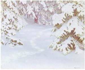 Vinterlandskap Med Snötyngda Granar by Gustaf FJÆSTAD