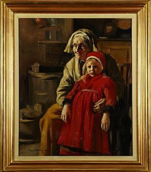 Interiör Med äldre Kvinna Och Flicka, by Paul GRAF