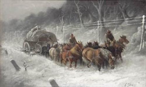 Hästspann I Snöyra by Adolf Constantin The Elder BAUMGARTNER