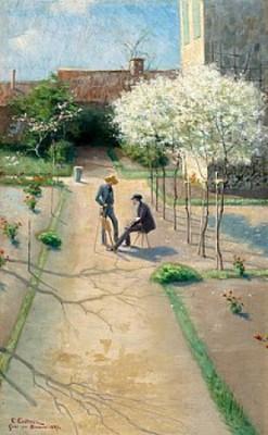 Friluftsmålare Och Blommande Fruktträd, Grez. by Elias ERDTMAN