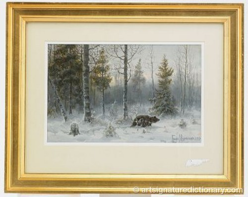 Bear In Winter Landscape by Vladimir Leonidovich MURAWJOFF