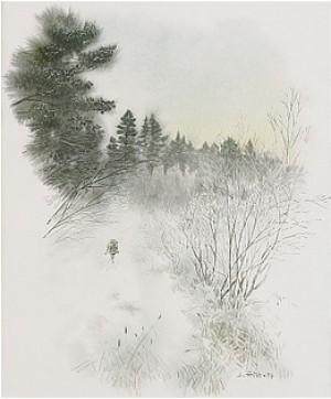 Vinterlandskap Med Hare by Lennart FRISK