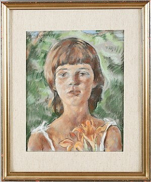 Kvinna Med Blomma by Lotte LASERSTEIN