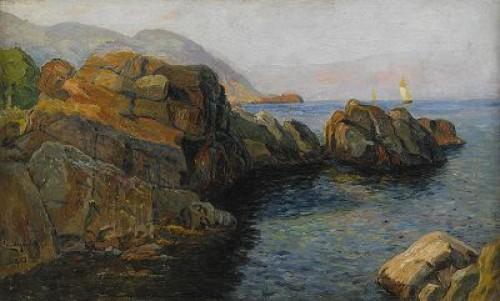 Röda Hallar Vid Ablahamnsstigen - Motiv Från Kullahalvön by Justus Evald LUNDEGÅRD