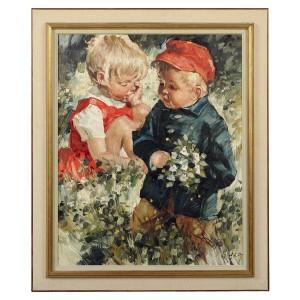 Flicka Och Pojke I Grönska by Charles ROKA