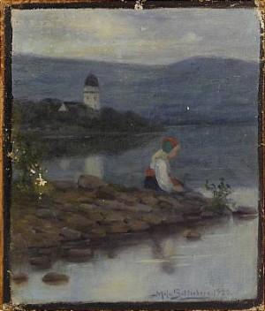 Flicka I Allmogedräkt Vid Kusten by Maja SETTERBERG