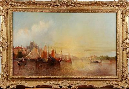 Holländskt Hamnmotiv Med Segelfartyg by Clifford MONTAGUE
