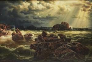 Stormigt Hav Med Fartyg Vid Horisonten by Marcus LARSON