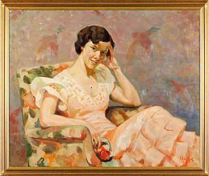 Porträtt Av Kvinna I Blommig Fåtölj by Fritz KÄRFVE