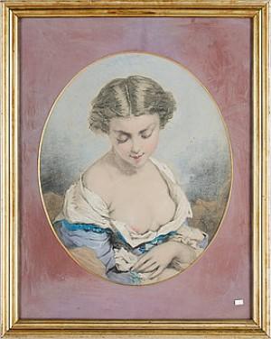 Ovalt Porträtt Av Ung Kvinna by Egron LUNDGREN