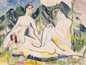 Drei Akte Auf Waldwiese (drei Weibliche Aktfiguren Im Wald) by Ernst Ludwig KIRCHNER