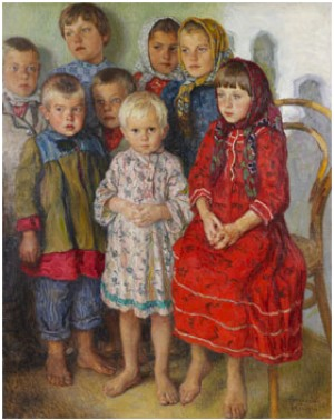 Portrait Of Eight Children by Nikolai Petrovich BOGDANOV-BELSKY
