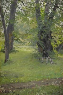 Parklandskap Med Sittande Herre Och Hund by Gerda ROOSVAL-KALLSTENIUS