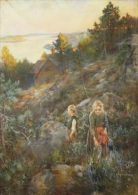 Barn Plockandes Ljung I Aftonrodnad by Alf WALLANDER