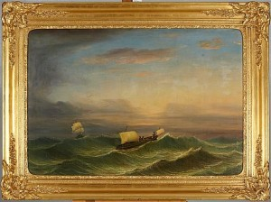 Segelbåtar I Upprört Hav by Per Wilhelm CEDERGREN