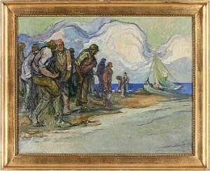 Kustmotiv Med Fiskare by Emil ZOIR