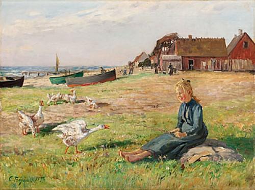 Flicka Med Gäss På Stranden by Carl TRÄGÅRDH