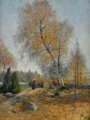 Höstlandskap Med Kvinna Vid Gärdesgård by Wilhelm BEHM