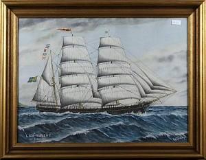 Fartygsporträtt Av Lisa-häverö, Kapt J O Karlsson by Gustav FREDRIKSSON