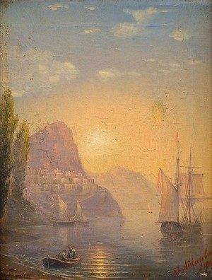 Costal Scene With Sunrise by Ivan Konstantinovich AIVAZOVSKY