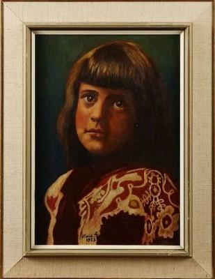 Porträtt Av Ung Flicka by Karl 'Xylografen' ANDERSSON