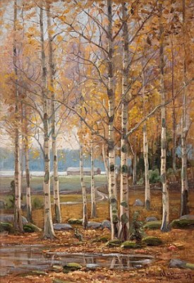 Birch Trees In Autumn Colors by Edvard WESTMAN