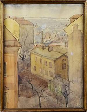 Stockholmsmotiv (utsikt Från Bergsgatan 16 över Parmmätargatan) by Ingegerd BESKOW