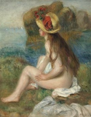 Nu Au Chapeau De Paille Assis En Bordure De Mer by Pierre Auguste RENOIR
