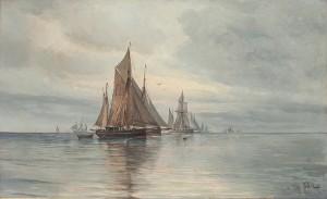 Segelfartyg På Havet by Vilhelm Victor BILLE