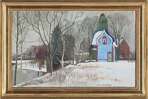 Vinterlandskap Med Hus by Sven LJUNGBERG