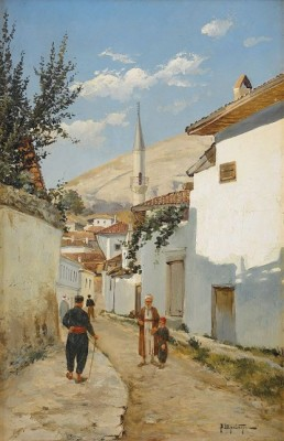Village Scene by Wassilij Pawlowitsch SCHREIBER