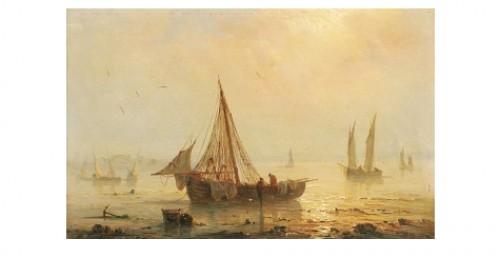 Fiskebåtar Vid Strand by Henriette Herminie GUDIN
