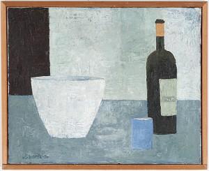 Stilleben Med Vinflaska Och Skål by Philip Von SCHANTZ