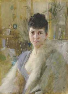 Portrait Of A Lady In A Drawing Room by Anders ZORN
