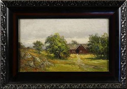 Röd Stuga I Landskap by Severin NILSON