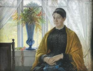 Konstnärens Mor Amalia Thegerström Sittande I Interiör by Robert THEGERSTRÖM