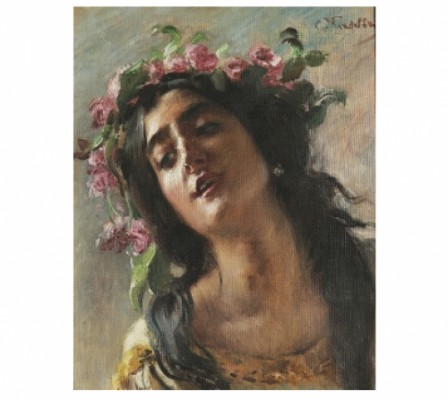 Woman With Garland. Study For. The Death Of Petronius by Konstantin Egorovich MAKOVSKY