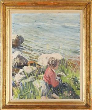 Flicka Vid Strandkant by Gustaf MAGNUSSON
