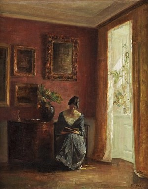 Woman Reading By The Window by Carl HOLSÖE