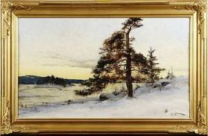 Vinterlandskap I Solnedgång by Arvid Mauritz LINDSTRÖM