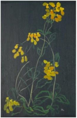 Blommor Mot Mörk Fond by Hilding LINNQVIST