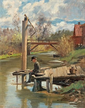 A Boy Fishing by Johan Axel Gustaf 'Jag Acke' ACKE